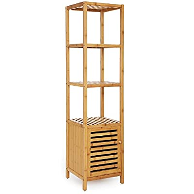 """SONGMICS Bamboo Bathroom Storage Floor Cabinet, 4 Tiers Multifunctional Floor Shelving Unit, Free Standing Tower Corner Rack, Natural UBCB50Y - 2 IN 1 DESIGN: Perfect combination of shelf and storage cabinet; 4 shelves provide ample storage space in bathroom for towels, toiletries, etc., the roomy cabinet with slatted door can store infrequently used items and keep them from dirt STABLE & DURABLE: Made of solid bamboo and designed with multi-layer structure, this entire shelving unit is very sturdy and can hold up to 150lbs MULTIFUNCTIONAL: 13.4"""" L x 13"""" W x 57.1"""" H, slim body maximizes your home space, fits perfectly in your living room or bedroom to keep magazines, decorations, toys, storage boxes and more - shelves-cabinets, bathroom-fixtures-hardware, bathroom - 41SR5 lbcJL. SS400  -"""