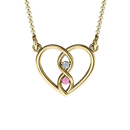 - 14K Yellow Gold Entwined Infinity Heart Necklace with Personalized Birthstones by JEWLR
