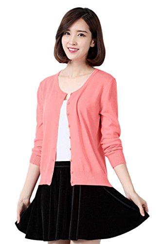 Jinchan Womens Pink Classic V-Neck Button Down Cardigan Sweater L