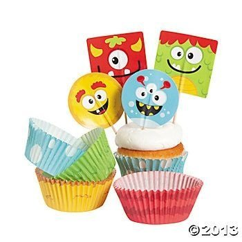 Bakery Supplies - Silly Monster Cupcake Picks and Baking Cups (1-Pack of 100)]()