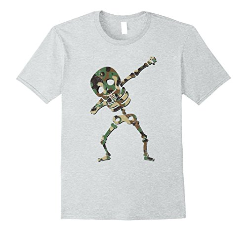 Zombie Military Costume (Mens Dabbing Skeleton Camouflage Halloween Dab Costume Shirt Medium Heather Grey)