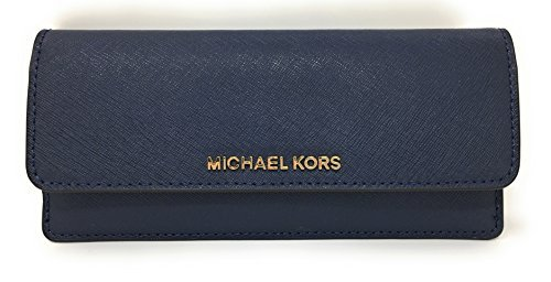 Michael Kors Jet Set Travel Flat Saffiano Leather Wallet (Navy)