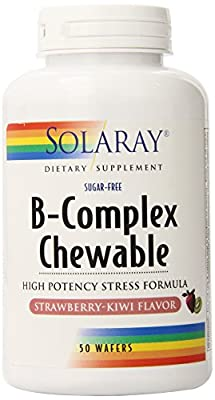 Solaray B-Complex Chewable Supplement, strawberry - kiwi flavor, 250mg, 50 Count
