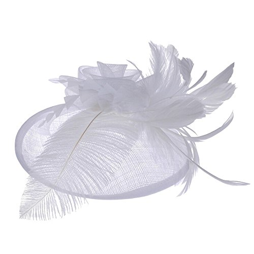 Wedding Party Hat,Wensltd Womens Feather Mesh Net Sinamay Fascinator Hat With Hair Clip Tea Party Derby (White) ()