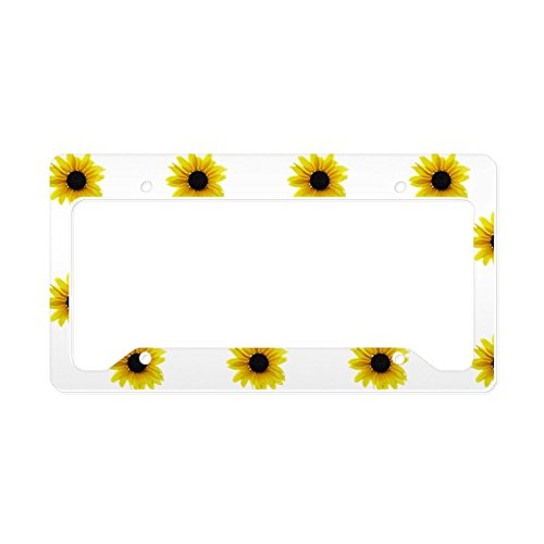 CafePress - Pretty Yellow Sunflower Patte - Aluminum License Plate Frame, License Tag Holder
