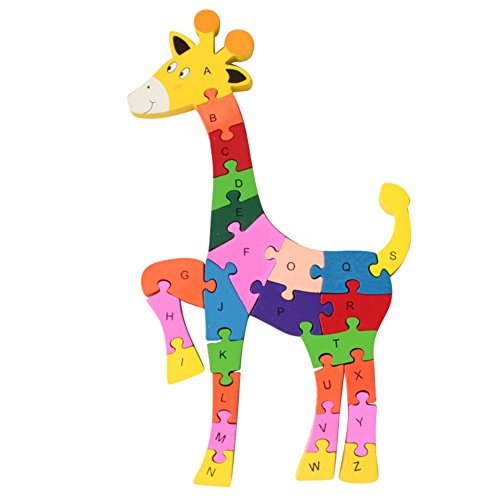26 Pcs Wooden Blocks Jigsaw Puzzles Alphabet & Numbers Winding Giraffe Wooden Puzzles Preschool Educational Toys For Toddlers (Alphabet Giraffe)