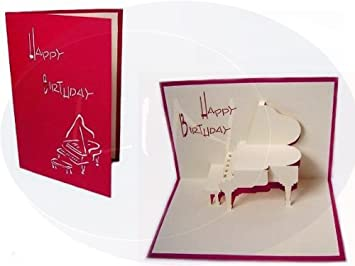 Pop up 3d greeting card birthday card piano colour red amazon pop up 3d greeting card birthday card piano colour red m4hsunfo