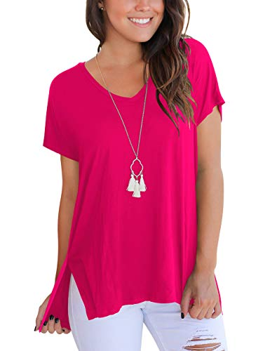 Summer Tops for Woman Short Sleeve V Neck Basic T Shirts Loose Casual Tees Rose Red L