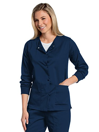 Landau All Day Women's Modern Fit Snap-Front Warm-Up Scrub Jacket Navy S