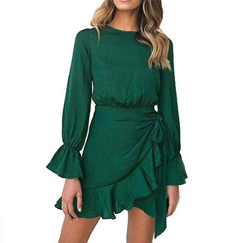 WEEPINLEE Womens Long Sleeve Round Neck Ruffles Wrap Dresses Party Dress (Dark Green,M)