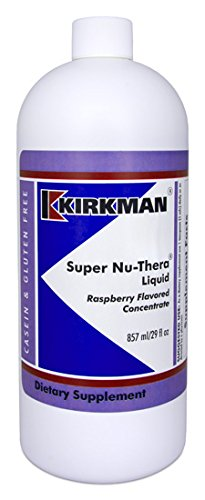 Kirkman Super Nu-Thera Liquid – Raspberry Flavored Concentrate 857 ml 29 fl oz Liquid Multi-vitamin that supplies high B-6 magnesium and vitamins. Free of common allergens Gluten Free