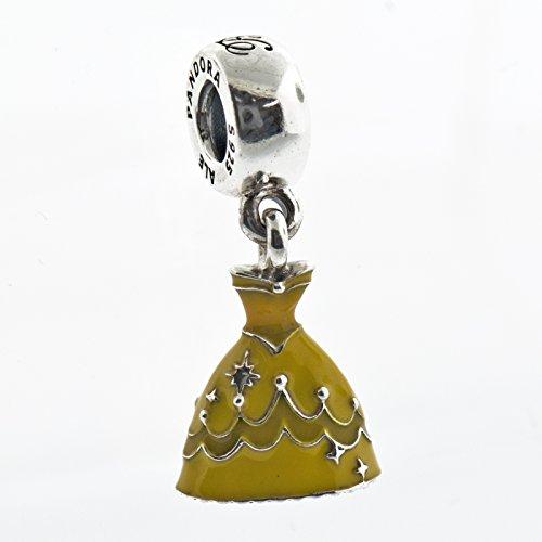 Pandora Disney Belle's Dress with Yellow Enamel Dangle Charm 791576enmx