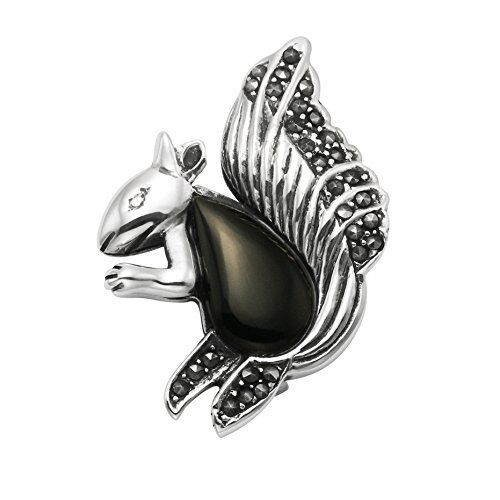 Wild Things Sterling Silver & Marcasite w/Simulated Black Onyx Squirrel Pin