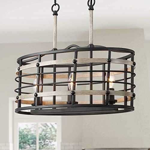 LOG BARN A03239 6 Farmhouse Chandelier, Kitchen Island Pendant Antique White and Rusty Metal Finish, 26