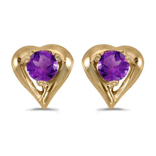 0.16 Carat (ctw) 14k Yellow Gold Round Purple Amethyst Heart Shape Stud Earrings with Post with Friction Back (3 MM) Diamond Shape Post Earrings