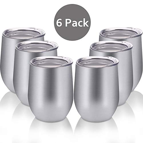 Skylety 6 Pack 12 Oz Unbreakable Drink-Ware Stemless Wine Tumbler, Stainless Steel Triple-Insulated Vacuum Wine Glass Cup with Lids for Wine, Coffee, Champagne, Cocktails and Beer (Silver) ()