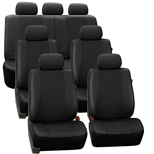 FH Group PU007217 3 Row Deluxe Leatherette Car Seat Covers w. 7 Headrests, Airbag Compatible and Rear Split, Black - Headrest Deluxe