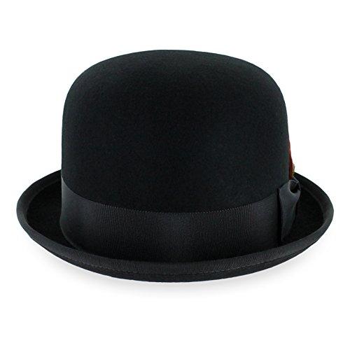 Belfry Deuce 100% Wool Felt Stingy Brim Men's Derby Bowler Hat in 4 Sizes and 2 Colors Large Black for $<!--$39.95-->