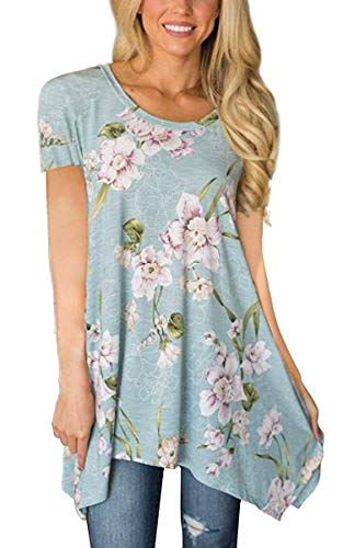 Womens Floral Print Tunic Shirts Short Sleeve Irregular Hem Asymmetrical Tunic Loose Blouse Tops(Light Blue Floral ()