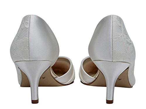 Rainbow Club Wilma - Open Waisted Luxury Lace and Ivory Satin Court Shoes o7VxmJdYjq