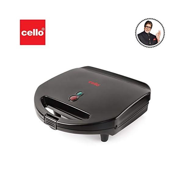 Cello Super Club Toast-N-Grill Plus Sandwich Maker, 750W 2021 July Toast sandwich and grill sandwich maker Elegant black finish Durable die cast aluminium