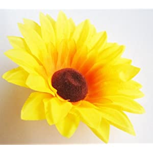 "(12) Silk Yellow Sunflowers Daisy Sun Flower Heads , Gerber Daisies - 3.5"" - Artificial Flowers Heads Fabric Floral Supplies Wholesale Lot for Wedding Flowers Accessories Make Bridal Hair Clips Headbands Dress 11"