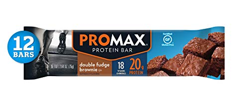 Cookie Brownie Bars - Promax Double Fudge Brownie, 20g High Protein, No Artificial Ingredients, Gluten Free, 12 Count