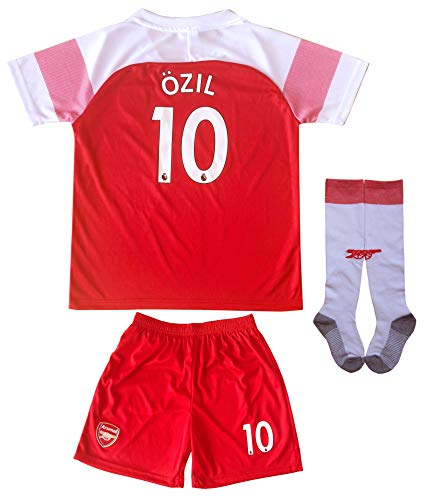 LES TRICOT 2017/2018 Arsenal Home #11 Mesut Ozil Football Futbol Soccer Kids Jersey Shorts Socks Set Youth Sizes (10-11 Years) - Arsenal Short