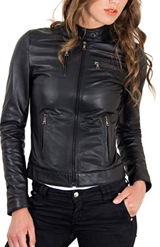 KYZER KRAFT Womens Leather Jacket Bomber Motorcycle Biker Real Lambskin Leather Jacket for Womens