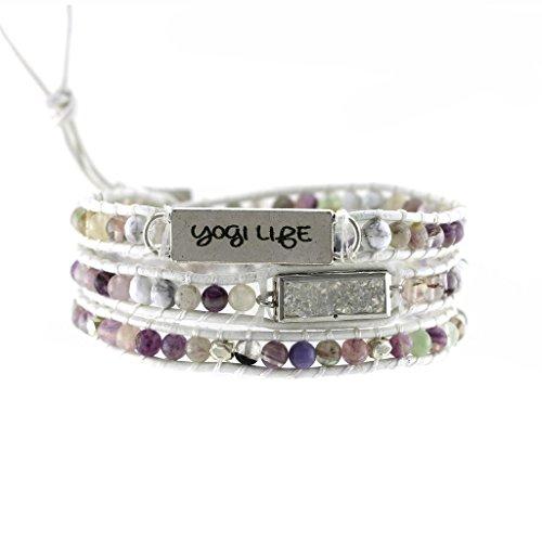 (Balla Druzy Beaded Genuine Leather Triple Wrap Boho Chic Charm Bracelet Cuff Gift for Women Girls Teens)