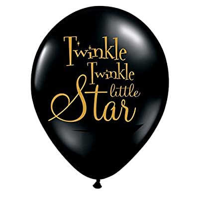 Twinkle Twinkle Little Star Balloons Black Set of 3 Twinkle Twinkle Little Star Baby Shower Decorations - Gender Reveal Balloons- Baby Shower Balloons: Health & Personal Care