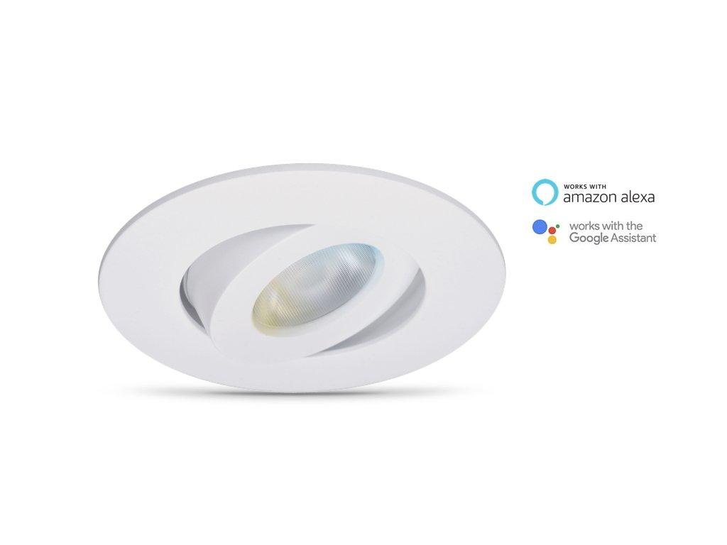Smarte LED-Deckeneinbauleuchte Rune von WiZ; WLAN-schaltbar. In Weiß gehaltene Oberfläche. Ausrichtbares. Dimmbar, 64.000 Weißschattierungen. Kombinierbar mit Amazon Alexa und Google Home.