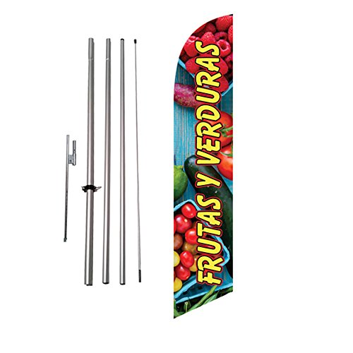 (Frutas Y Verduras Advertising Feather Flag Banner Spanish Swooper Flag Kit w/Pole and Ground Stake)