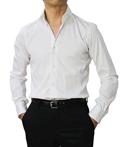BARBA DANDY LIFE NEW BRUNO コットン ストレッチ ブロード カッタウェイ シャツ B07FYF5X3Z 39|ホワイト ホワイト 39