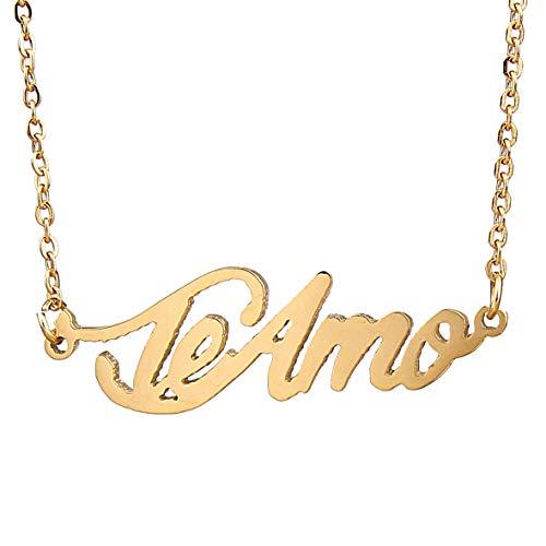 (HUAN XUN 18k Gold Plated Little Name Necklace, Teamo)