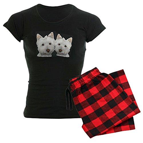 Highland Ladies Plaid Pant (CafePress - Two Cute West Highland White Dogs Women's Dark Paj - Womens Novelty Cotton Pajama Set, Comfortable PJ Sleepwear)