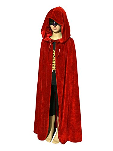 acecharming Kid Hooded Cape,Medieval Cloak with Hood for Devil Witch Wizard Magician(Red) (Good Halloween Costumes For High School)