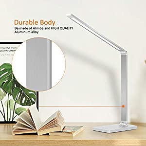 AOBISI LED Desk Lamp, Office Desk Lamp with USB Charging Port, Aluminum Body 5 Lighting Modes with 3 Brightness Levels, Angle Adjustable, Touch Control, Eye-Caring for Study, Working (Color: White)