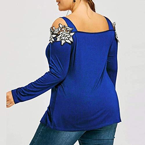 paules Sling Nues Mode Tops Printemps Unique Battercake Casual Top Manches Dame lgant Blusen Branch Femme Fleurs Chemise Blau Brode Pullover Longues OnZg6Sn