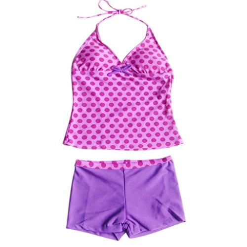 Tankini Dot Pink (YiZYiF Kids Girls Tankini Bikini 2 Pieces Swimwear Swimming Bathing Suit (15-16, Polka Dots Pink))