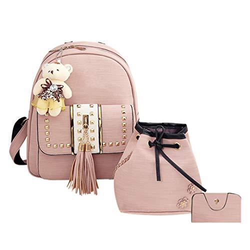 4Pcs/3Pcs/2Pcs/1Pcs Women PU Leather Backpack Cute School Bags For Teenage Girls Black Shoulder Bag Set Type B Pink