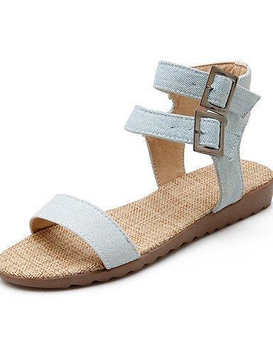 ShangYi Womens Shoes Fabric Flat Heel Open Toe Sandals Outdoor / Dress / Casual Blue / Royal Blue Light Blue