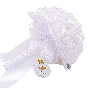 Bodarind Artificial Flowers Bride Holding Bouquets Bridesmaid Hand Bouquets Fake Roses with Pearl Diamond Ribbons Wedding Bouquet for Bridal Party Home Decorations 16