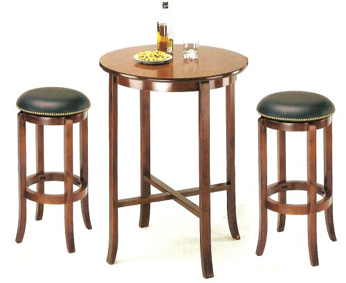 Amazon.com: York Cherry Pub Table Set With 2 Leather Nailhead Swivel Bar  Stools: Kitchen U0026 Dining