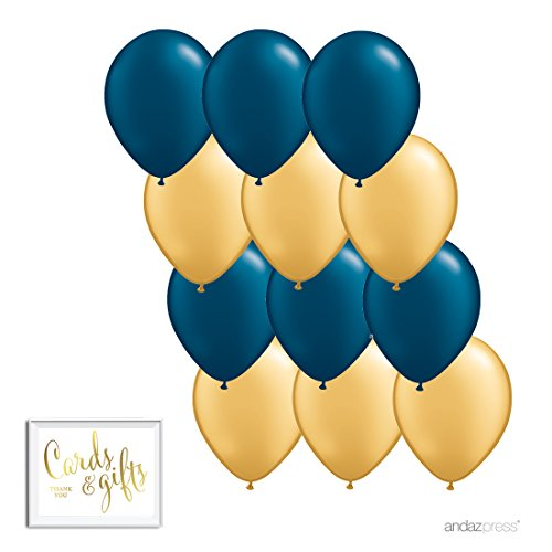 Andaz Press 11-inch Latex Balloon Duo Party Kit with Gold Cards & Gifts Sign, Navy Blue and Gold, 12-pk, Nautical Birthday Decorations