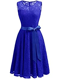 Women's Floral Lace Dress Short Bridesmaid Dresses with...