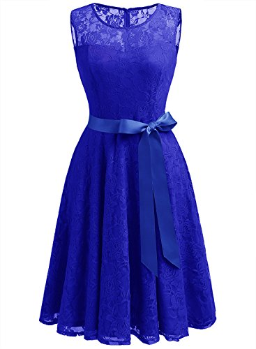 Dressystar DS0009 Women's Floral Lace Dress Short Bridesmaid Dresses with Sheer Neckline S Royal Blue