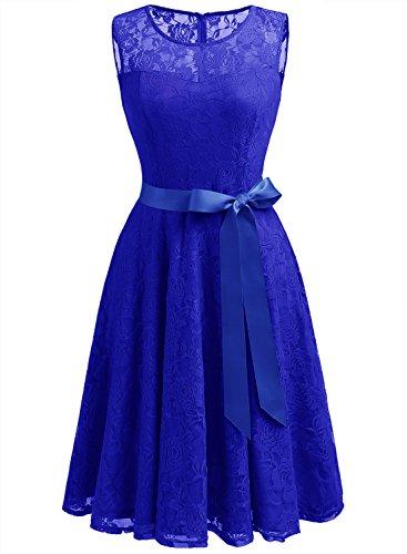 Dressystar Vestido Fiesta Corto Encaje Estampado Flor Elegante Mujer Sin Manga Vestido para Madrina Royal Blue