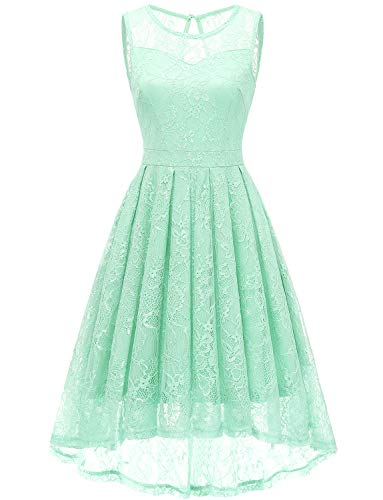 Gardenwed Women's Vintage Lace High Low Bridesmaid Dress Sleeveless Cocktail Party Swing Dress Mint XS