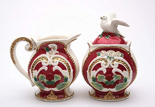 - Fine Porcelain Hand Painted Christmas Holidays Dove with Red, White and Gold Design Sugar & Creamer Set, 5-1/4